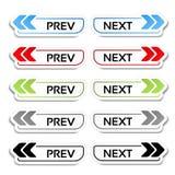 Prev, botones siguientes con las flechas - etiquetas, etiquetas engomadas en el fondo blanco Imagen de archivo libre de regalías