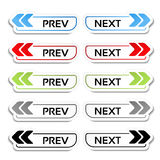Prev, folgende Knöpfe mit Pfeilen - Aufkleber, Aufkleber auf dem weißen Hintergrund Lizenzfreies Stockbild