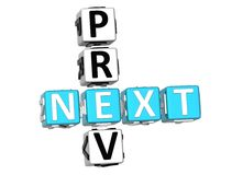 Prev Next Crossword. 3D Prev Next Crossword on white background Royalty Free Stock Images