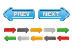 Prev y botones siguientes - botones de la flecha Imágenes de archivo libres de regalías