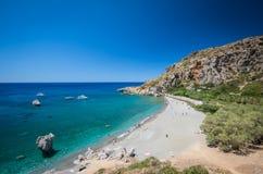 Preveli海滩在克利特海岛,希腊 免版税图库摄影