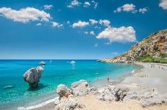 Preveli海滩在克利特海岛,希腊 免版税库存照片