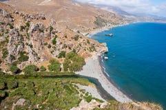 Preveli beach and lagoon on the Crete island, Greece. Stock Images