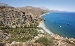 Preveli beach with palm trees in Crete. Greece Royalty Free Stock Photos