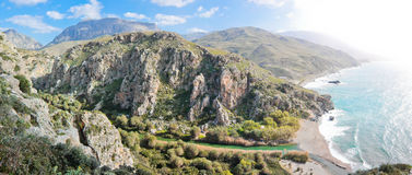 Preveli Lake And Palm Forest Royalty Free Stock Photo