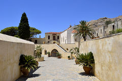 Preveli Monastery in Crete, Greece. The monastery contains numerous religious relics and icons, and its buildings, heavily restored, are open to the public Royalty Free Stock Image