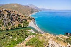 Preveli palm beach on Crete island, Greece Stock Image