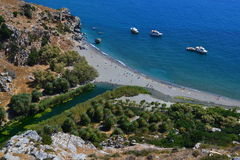 Preveli strand, Creta, Grekland Fotografering för Bildbyråer