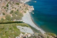 Preveli Strand von oben, Kreta Lizenzfreie Stockfotos