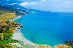 Preveli - vacaciones en Creta con la costa del paraíso imagen de archivo libre de regalías