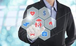 Prevenção de acidentes do botão da pressão de mão do agente do vendedor do negócio imagens de stock