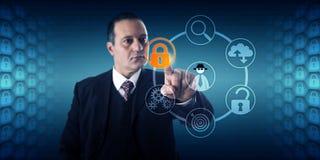 Prevenção de fraude de Activating Lock For do homem de negócios Fotografia de Stock Royalty Free