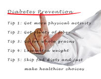 Prevención de la diabetes fotografía de archivo