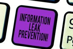 Prevención del escape de la información del texto de la escritura Significado del concepto que inhibe la información crítica a la foto de archivo libre de regalías