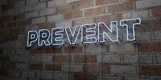 PREVENT - Glowing Neon Sign on stonework wall - 3D rendered royalty free stock illustration. Can be used for online banner ads and direct mailers Stock Photos