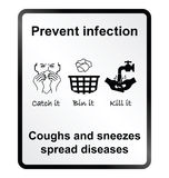 Prevent infection Information Sign. Prevent infection public health information sign isolated on white background Stock Photography