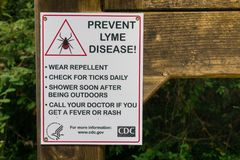 `Prevent Lyme disease` sign and guidance. August 15, 2017 La Honda/CA/USA - `Prevent Lyme disease` sign in Portola Redwoods State Park, Santa Cruz mountains Royalty Free Stock Image