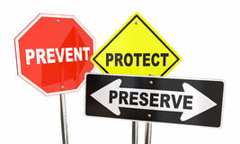 Prevent Protect Preserve Road Street Signs Safety Security. 3d Illustration Stock Photography