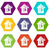 Preventing fire icon set color hexahedron. Preventing fire icon set many color hexahedron isolated on white vector illustration Stock Image