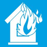 Preventing fire icon white. Isolated on blue background vector illustration Royalty Free Stock Photography