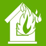 Preventing fire icon green. Preventing fire icon white isolated on green background. Vector illustration Royalty Free Stock Photography