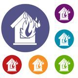 Preventing fire icons set. In flat circle reb, blue and green color for web Stock Images
