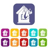 Preventing fire icons set. Vector illustration in flat style in colors red, blue, green, and other Stock Photos