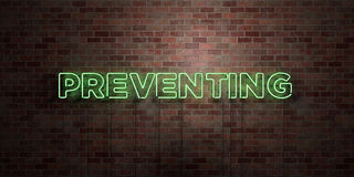 PREVENTING - fluorescent Neon tube Sign on brickwork - Front view - 3D rendered royalty free stock picture. Can be used for online banner ads and direct Stock Photo