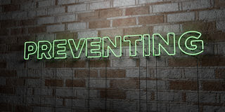 PREVENTING - Glowing Neon Sign on stonework wall - 3D rendered royalty free stock illustration. Can be used for online banner ads and direct mailers Stock Image