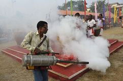 Prevention. November 20,2011 Kolkata,West Bengal,India,Asia-A health worker sprays anti-mosquito fog due to dengue Stock Images