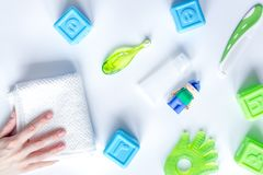Prevention and care children`s teeth white background top view Stock Images
