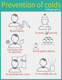 Prevention of colds. Vector set of characters in a flat style.  Ways to prevent colds Stock Image