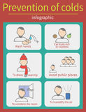 Prevention of colds. Vector set of characters in a flat style.  Ways to prevent colds Stock Photos