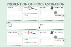 Prevention of procrastination template for two tasks stock photography