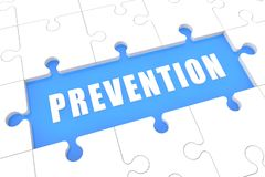 Prevention. Puzzle 3d render illustration with word on blue background vector illustration