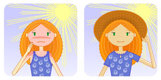 Prevention of sunburn. Girl with sunburn and without Stock Photo