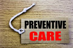 Preventive Care. Business concept for online saleHealth Medicine Care written on price tag paper with copy space on the wooden vin. Preventive Care. Business Royalty Free Stock Image