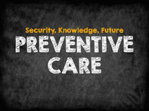 Preventive Care concept. Black board with texture, background Royalty Free Stock Image