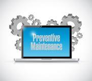 Preventive maintenance computer technology sign Stock Image