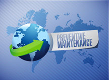 Preventive maintenance globe sign concept Royalty Free Stock Images