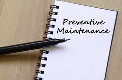 Preventive maintenance write on notebook Royalty Free Stock Photo