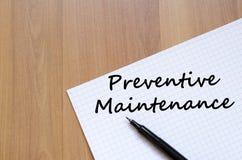 Preventive maintenance write on notebook Royalty Free Stock Photo