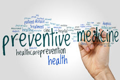 Preventive medicine word cloud Stock Image