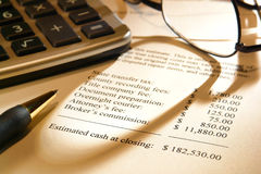 Preventivo di spesa di chiusura del venditore del bene immobile Fotografia Stock