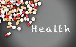 preventivpillerar 3d och svart tavla med text Arkivbild