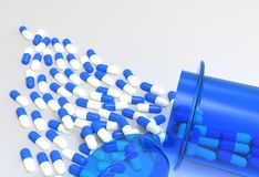 Preventivpillerar 3d som spiller ut ur preventivpillerflaskan Royaltyfri Foto