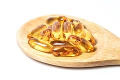 Preventivpillerar för fiskolja Royaltyfri Foto