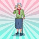 Preventivpillerar för popArt Senior Happy Woman Holding medicin isolerade fängelsekunder för armomsorg hälsa vektor illustrationer