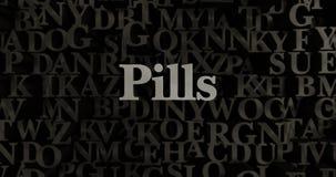Preventivpillerar - metallisk 3D som framfördes, satte rubrikillustrationen Arkivbild