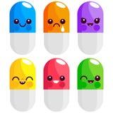 Preventivpillerar och färgrika tecken för kapslar royaltyfri illustrationer
